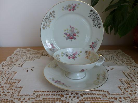 Винтажная посуда. Ярмарка Мастеров - ручная работа. Купить Старинное чайное коллекционное трио, фарфор,Германия. Handmade. Комбинированный, Блюдце