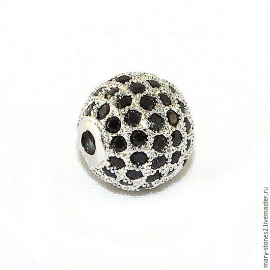 Для украшений ручной работы. Ярмарка Мастеров - ручная работа. Купить Бусина шар 12мм с черными фианитами, серебро (Milano). Handmade.