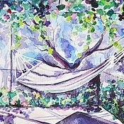 """Картины и панно ручной работы. Ярмарка Мастеров - ручная работа Картина акварелью """"Сон в летний день"""". Handmade."""