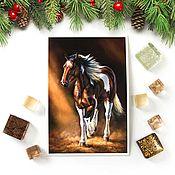 Открытки ручной работы. Ярмарка Мастеров - ручная работа Открытка лошадь Шампань. Handmade.
