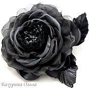 Украшения ручной работы. Ярмарка Мастеров - ручная работа Роза чёрная из шёлка. Handmade.