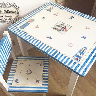 Для дома и интерьера ручной работы. Ярмарка Мастеров - ручная работа Детская мебель в морском стиле ( стол и стульчик). Handmade.