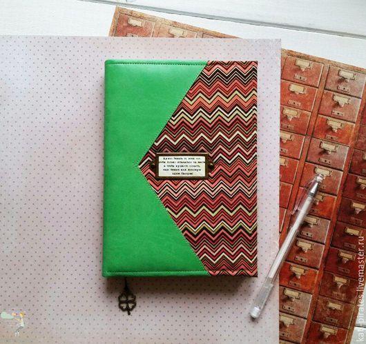 Блокноты ручной работы. Ярмарка Мастеров - ручная работа. Купить Блокнот с цитатой. Handmade. Зеленый, клеве, алиса, переплётный картон