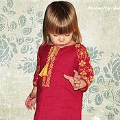Работы для детей, ручной работы. Ярмарка Мастеров - ручная работа Платье вышиванка ВИРА Детские вышиванки Льняное платье в пол Бохо шик. Handmade.