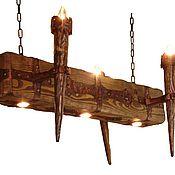 Для дома и интерьера ручной работы. Ярмарка Мастеров - ручная работа люстра из состаренного дерева. Handmade.