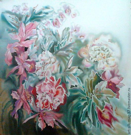 Картины цветов ручной работы. Ярмарка Мастеров - ручная работа. Купить Панно. Батик на натуральном шёлке. Пионы и орхидеи. Handmade.