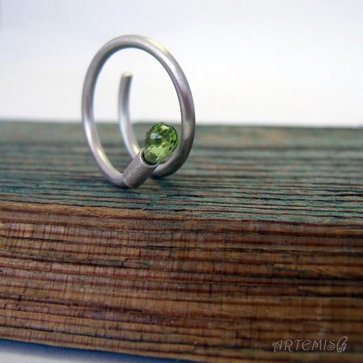 """Кольца ручной работы. Ярмарка Мастеров - ручная работа. Купить Серебряное кольцо """"Раннее утро"""". Handmade. Зеленый, зеленый перидот"""