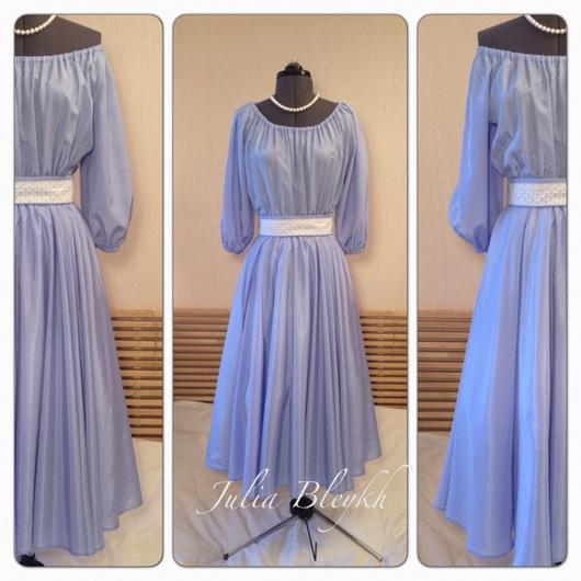 """Платья ручной работы. Ярмарка Мастеров - ручная работа. Купить Платье """"Голубое небо"""". Handmade. Платье, платье легкое, миди"""