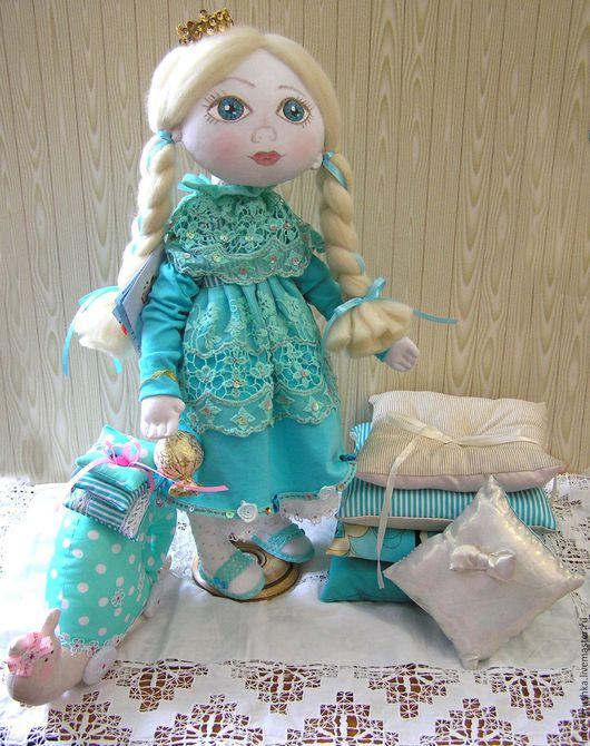 Коллекционные куклы ручной работы. Ярмарка Мастеров - ручная работа. Купить Кукла Принцесса на горошине. Handmade. Тёмно-бирюзовый, трикотаж