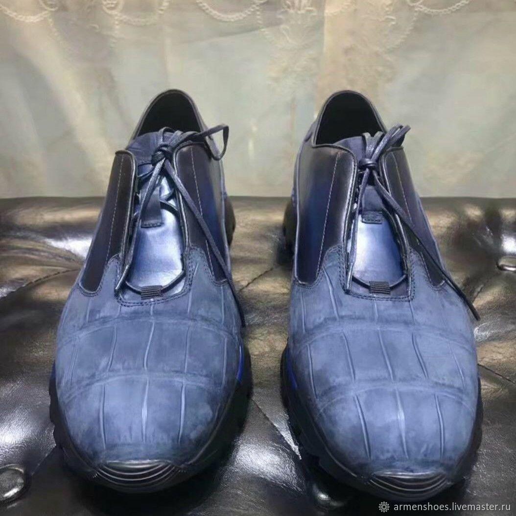 Кроссовки из кожи крокодила, выделка нубук, в тёмно - синем цвете, Обувь, Тосно, Фото №1