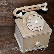 Материалы для творчества ручной работы. Ярмарка Мастеров - ручная работа Телефон - шкатулка - комод неокрашенное дерево. Handmade.