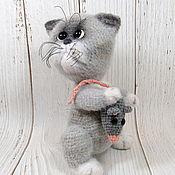 Куклы и игрушки handmade. Livemaster - original item Soft toys: cat toy grey crocheted Zhadinka. Handmade.