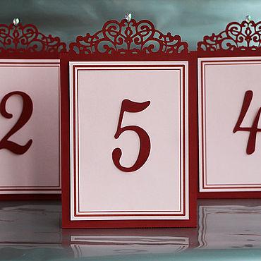 """Свадебный салон ручной работы. Ярмарка Мастеров - ручная работа """"Бордо"""" номер для стола. Handmade."""