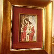 """Картины и панно ручной работы. Ярмарка Мастеров - ручная работа Вышитая миниатюра """"Всё стою у двери и стучу"""". Handmade."""