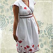 Одежда ручной работы. Ярмарка Мастеров - ручная работа Дизайнерские платья МАКОВОЕ ПОЛЕ Белое платье с вышивкой Красные маки. Handmade.