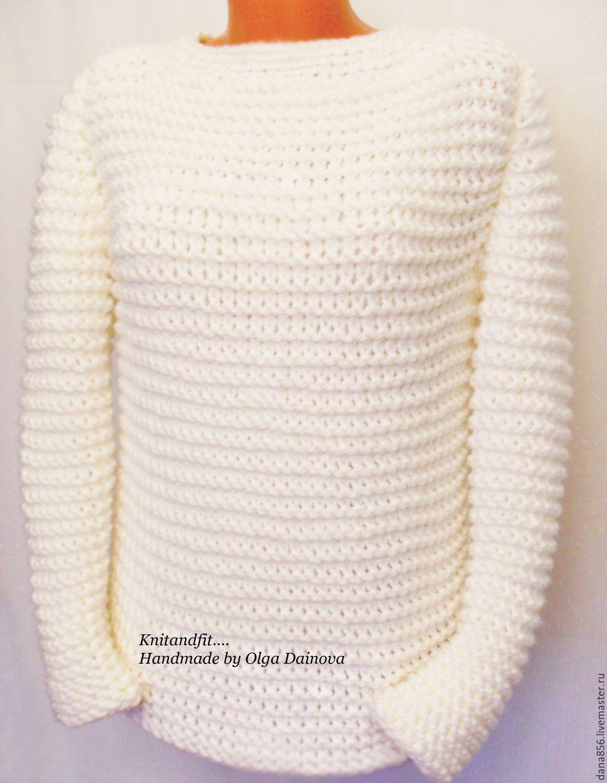 Вязаный белый свитер женский доставка