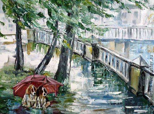 """Город ручной работы. Ярмарка Мастеров - ручная работа. Купить Картина """"Под дождем"""". Handmade. Картина маслом, сюрприз, зонт"""