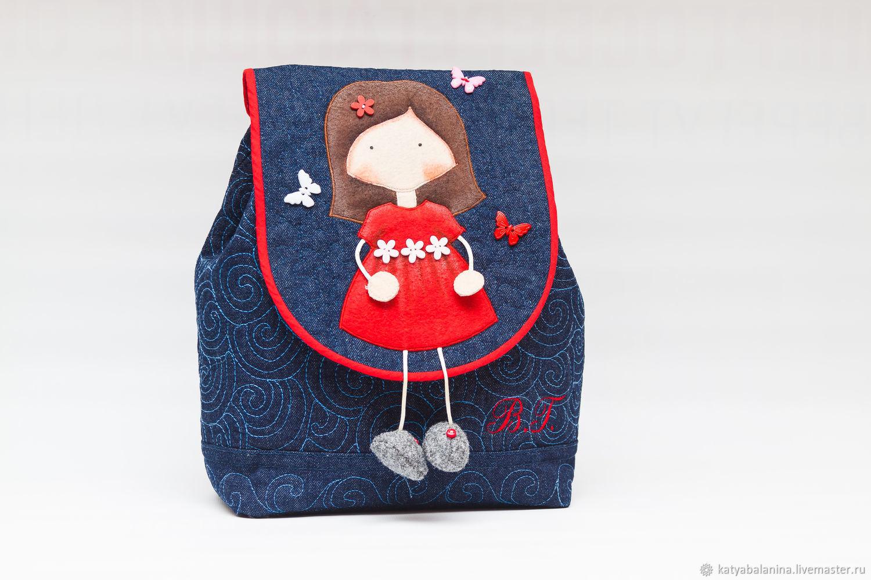 Детский джинсовый рюкзачок Маленькая принцесса Николь, Сумки, Муром,  Фото №1
