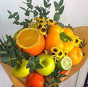 Цветы и флористика ручной работы. Ярмарка Мастеров - ручная работа Солнечный фруктово-овощной букет. Handmade.