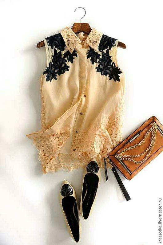 Блузки ручной работы. Ярмарка Мастеров - ручная работа. Купить Блуза шелковая с вышивкой. Handmade. Бежевый, блузка женская