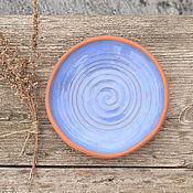 Посуда ручной работы. Ярмарка Мастеров - ручная работа Керамическая тарелка Синяя Похудительная. Handmade.