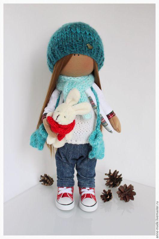 Человечки ручной работы. Ярмарка Мастеров - ручная работа. Купить Текстильная кукла Кира. Handmade. Тёмно-бирюзовый, кукла, зима