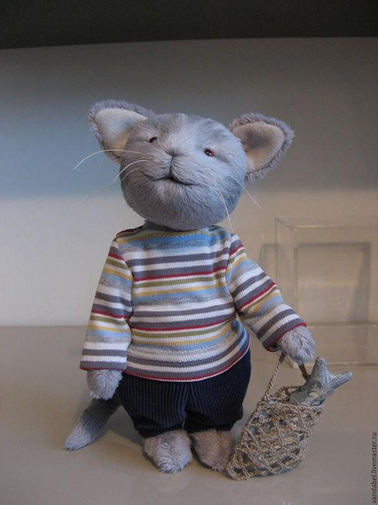Мишки Тедди ручной работы. Ярмарка Мастеров - ручная работа. Купить Кот с рыбкой. Handmade. Серый, toys, глаза стеклянные