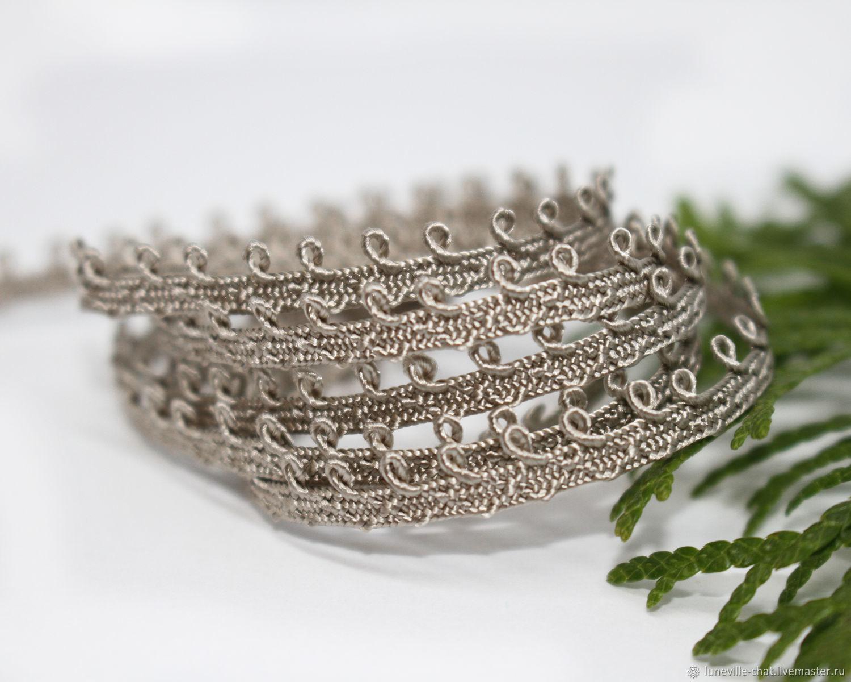 Mokuba 5 mm old silver Pico ribbon (no. №10), braid, St. Petersburg,  Фото №1