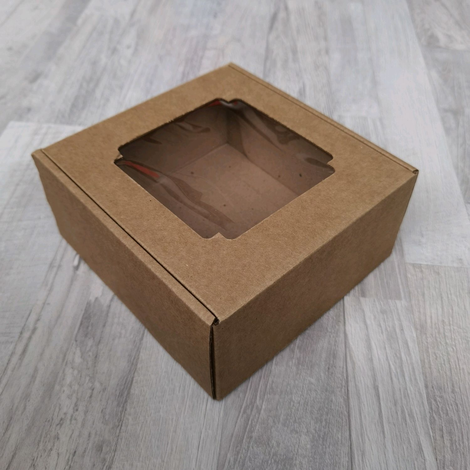 Коробка с окном 19*19*9, крафт, Коробки, Санкт-Петербург,  Фото №1