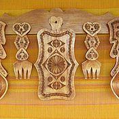Для дома и интерьера ручной работы. Ярмарка Мастеров - ручная работа Набор для кухни: ложки, вилки, разделочная доска. Handmade.