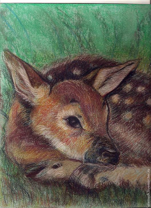 """Животные ручной работы. Ярмарка Мастеров - ручная работа. Купить Картина пастелью """"Олененок"""". Handmade. Олень, картина в подарок"""