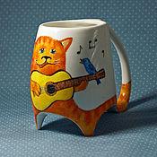 """Посуда ручной работы. Ярмарка Мастеров - ручная работа Кружка """"Кот с гитарой"""". Handmade."""