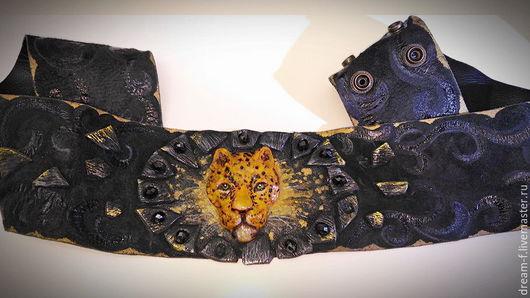 """Пояса, ремни ручной работы. Ярмарка Мастеров - ручная работа. Купить Пояс """"Леопард"""". Handmade. Кожа, Пояс из кожи"""