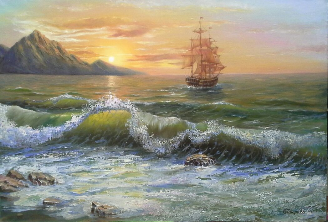 """Oil painting """"Sail of hope """",landscape, Pictures, Ozery,  Фото №1"""