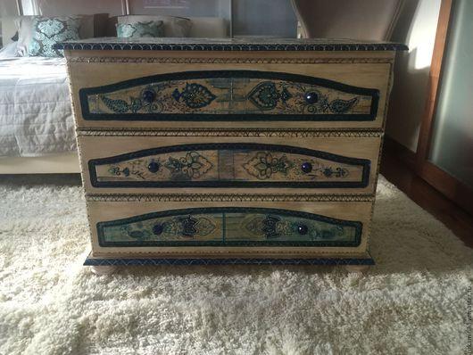 """Мебель ручной работы. Ярмарка Мастеров - ручная работа. Купить Комод """"бело-синяя фантазия"""". Handmade. Комбинированный, мебель с росписью"""