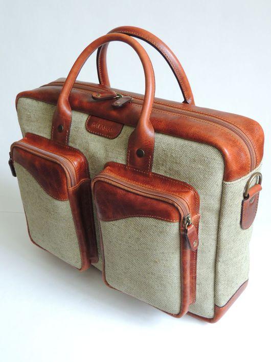Мужские сумки ручной работы. Ярмарка Мастеров - ручная работа. Купить Портфель. Handmade. Комбинированный, подарок мужчине