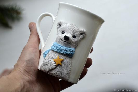 Кружки и чашки ручной работы. Ярмарка Мастеров - ручная работа. Купить Кружка в подарок 'Мишка со звездой' с декором из полимерной глины. Handmade.
