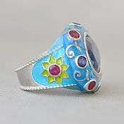 Украшения handmade. Livemaster - original item Silver ring with  a kyanite, rubies and a hot enamel. Handmade.