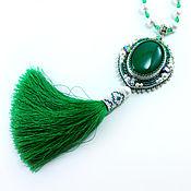 Украшения ручной работы. Ярмарка Мастеров - ручная работа Зелёный кулон с кистью. Handmade.