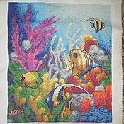 """Картины и панно ручной работы. Ярмарка Мастеров - ручная работа Вышитая картина """"Подводный мир"""". Handmade."""
