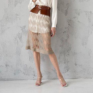 Одежда ручной работы. Ярмарка Мастеров - ручная работа Юбка вязаная женская с поясом. Handmade.