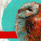Картины ручной работы. Ярмарка Мастеров - ручная работа Сова - Сипуха 6 - Картина в смешанной технике. Handmade.