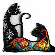 """Картины и панно ручной работы. Ярмарка Мастеров - ручная работа декоративное панно """"Кошки"""". Handmade."""