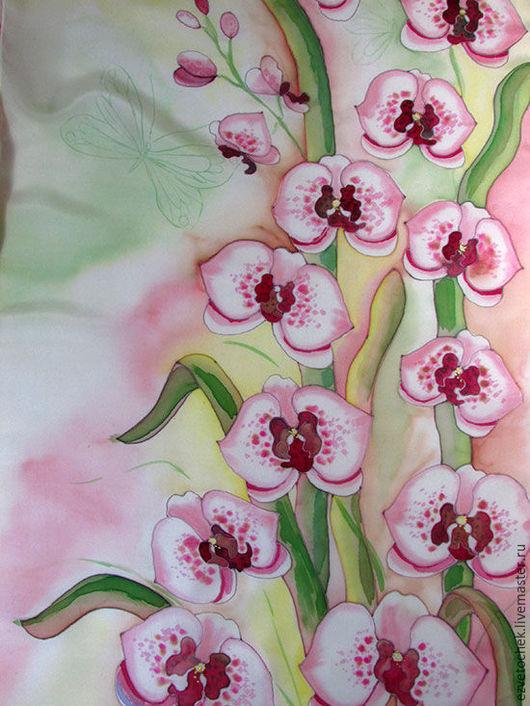 Шали, палантины ручной работы. Ярмарка Мастеров - ручная работа. Купить Орхидеи. Handmade. Салатовый, батик шарф, женственный