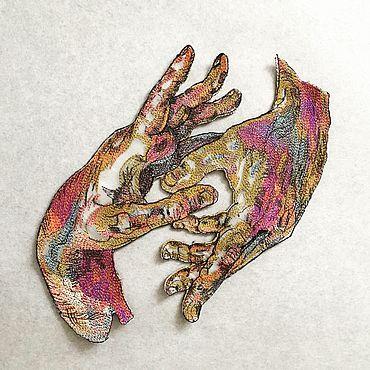 Материалы для творчества ручной работы. Ярмарка Мастеров - ручная работа Аппликация - нашивка на одежду Руки. Handmade.