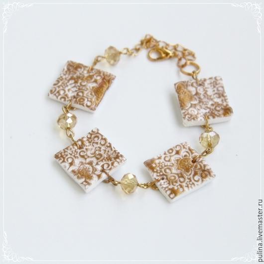 Браслет `Золото скифов`, белый с золотым из полимерной глины. Пулина Елена
