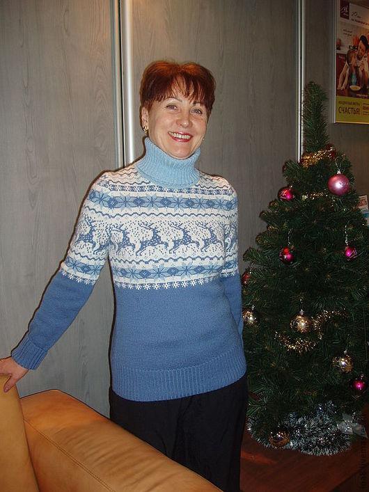 Sweatshirts & Sweaters handmade. Livemaster - handmade. Buy Sweater with deer.Sweater with deer, blue, architectural design