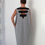 Одежда ручной работы. Ярмарка Мастеров - ручная работа Серое элегантное коктейльное макси платье, кафтан с открытой спиной. Handmade.