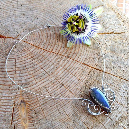 Колье, бусы ручной работы. Ярмарка Мастеров - ручная работа. Купить Голубая бабочка - серебряное ожерелье с лaбрдоритом. Handmade.