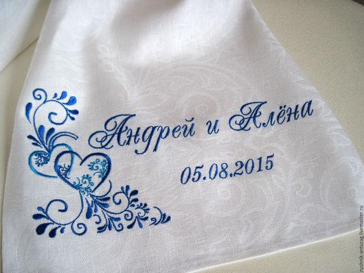 Свадебный рушник, Рушник на свадьбу, Рушник с вышивкой, Рушник для венчания, Венчальный рушник,  Союзный рушник, Рушник на каравай, Рушник на икону, Рушник свадебный, Гжель